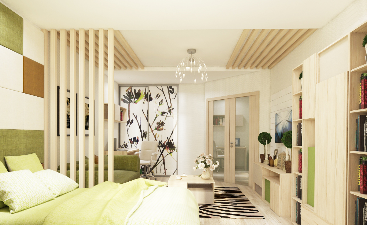 Living Room Interior Design Space Is Divided Into Two Spaces With Wood Elements