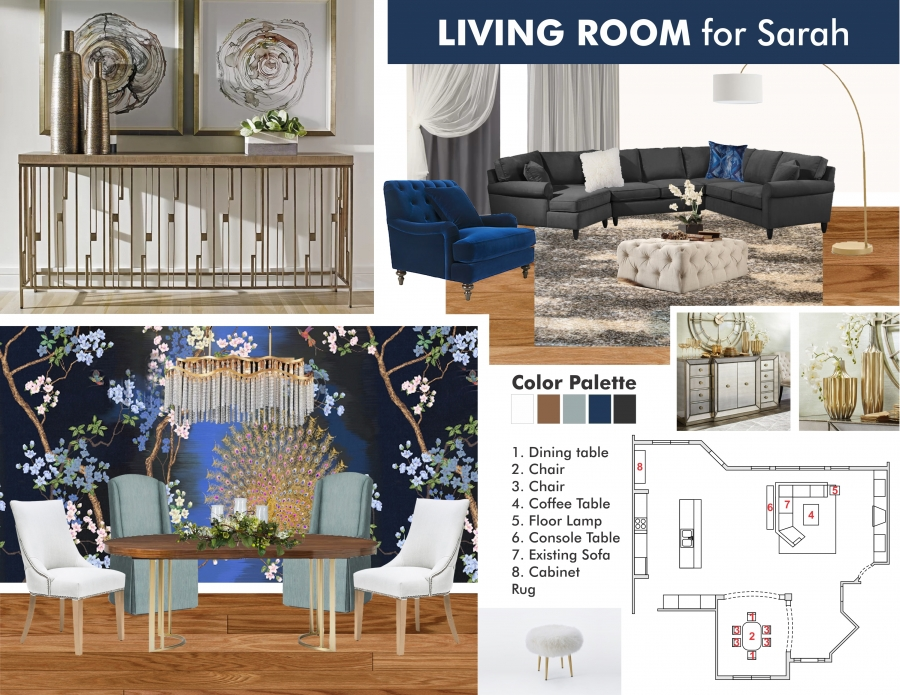 Glam Living & Dining Room