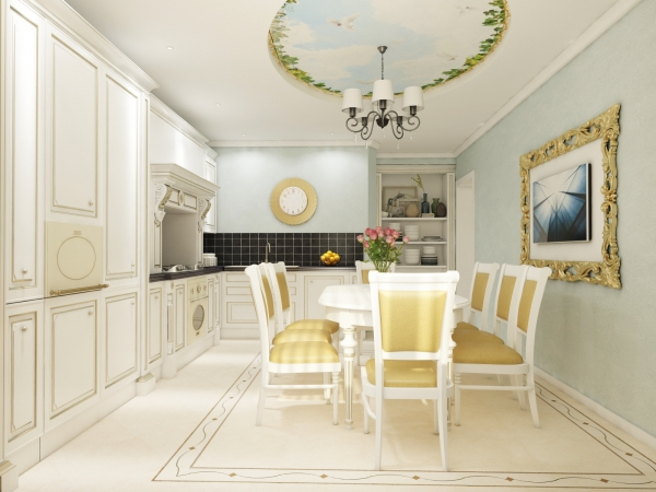 Classic Kitchen Design with Gold Elements