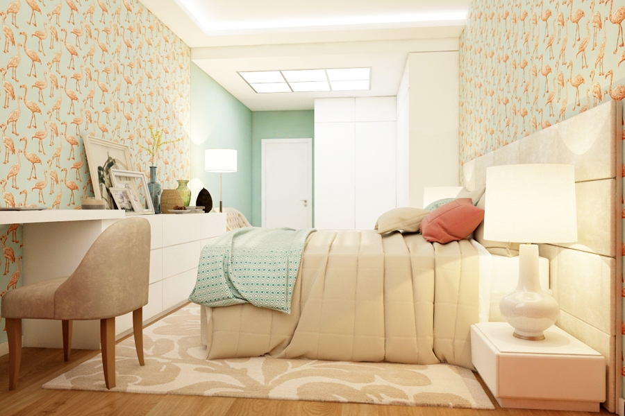 Flamingo bedroom interior design