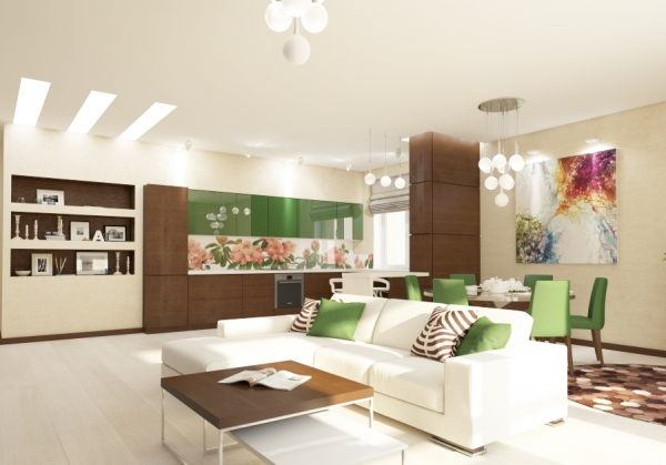 Green and Brown are Back in Town! Take a look on our Kitchen Interior Design
