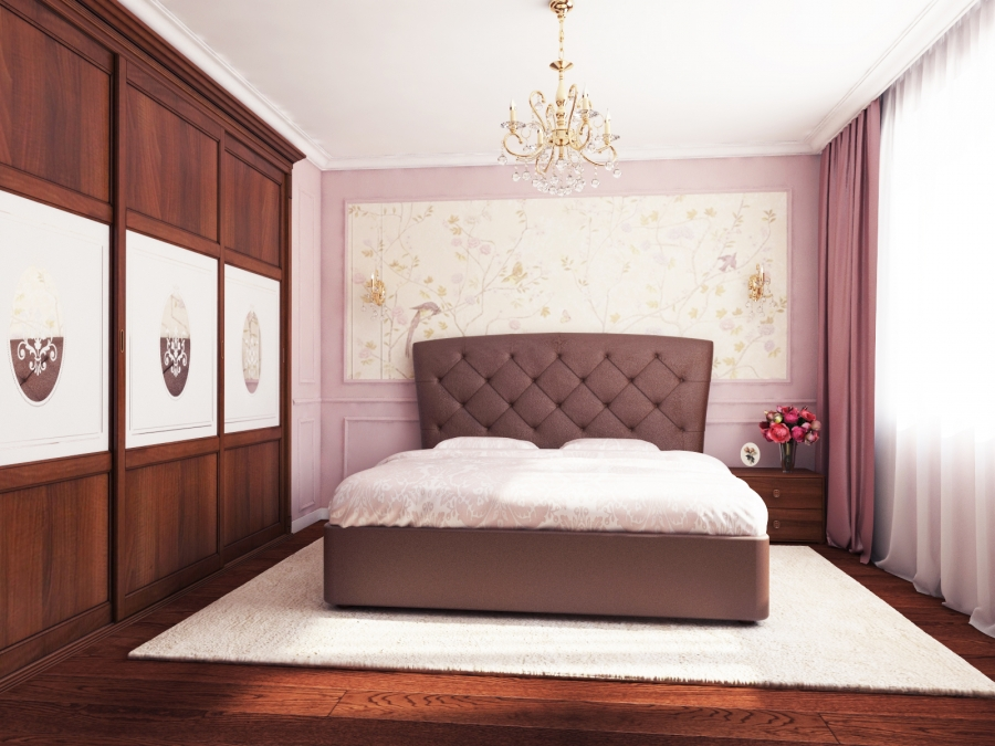Traditional Bedroom with Wallpaper Accents