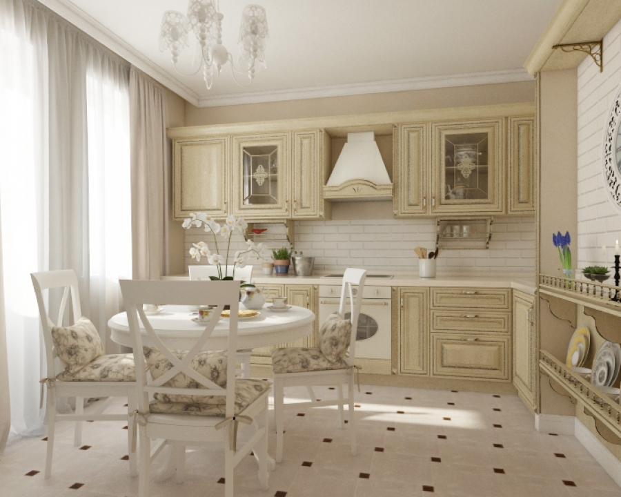Traditional Kitchen Design with Dining Set