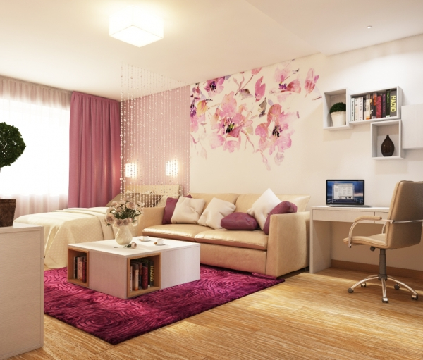 Living Room Interior Design Project for a girl is divided into two spaces