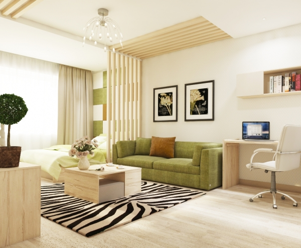 Living Room Interior Design. Space Is Divided Into Two Spaces With Wood  Elements