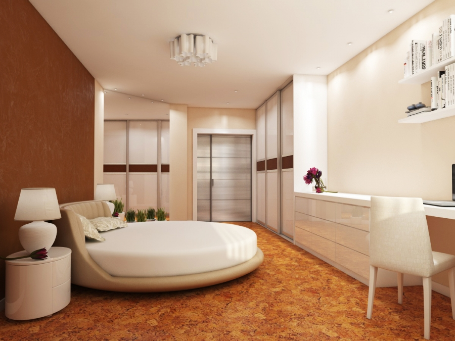 Modern Bedroom with Cork Floors and Round Bed