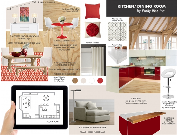 Red kitchen and wood combination