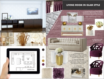 Living room in glam style