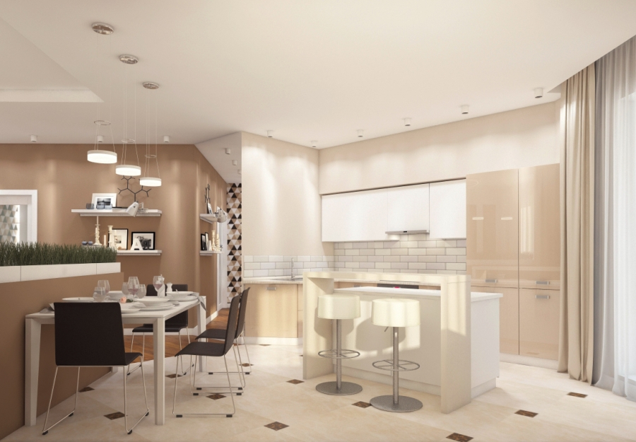 Open Kitchen in Warm Chocolate Colors