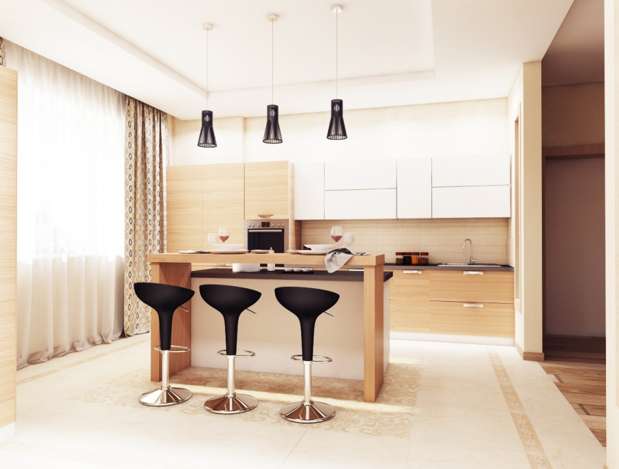 Straight Lines, Wood Elements, Light Colors - Best Kitchen Design