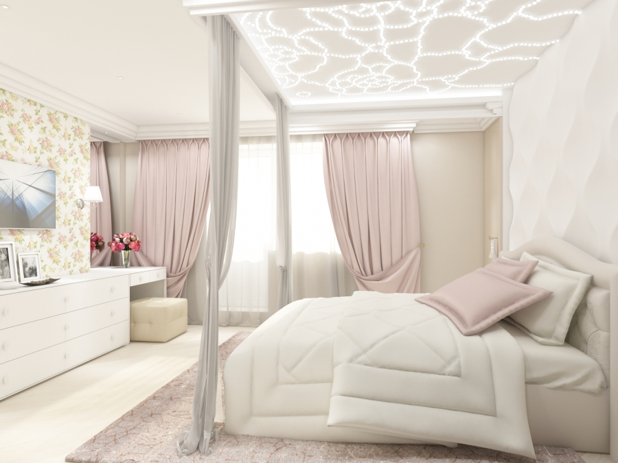 White Bedroom with Floral Accent