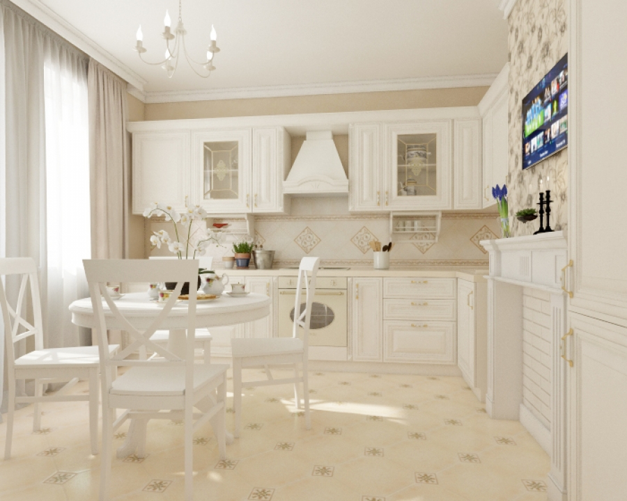 Traditional Kitchen Design with Dining Set and Brick