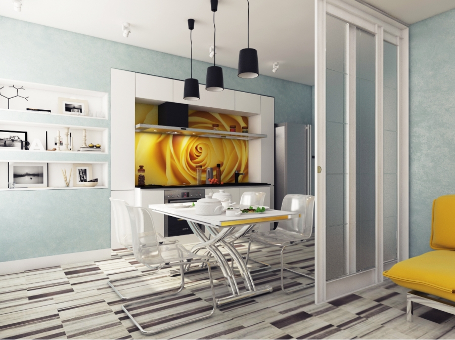 White Glam Kitchen with Yellow Accents