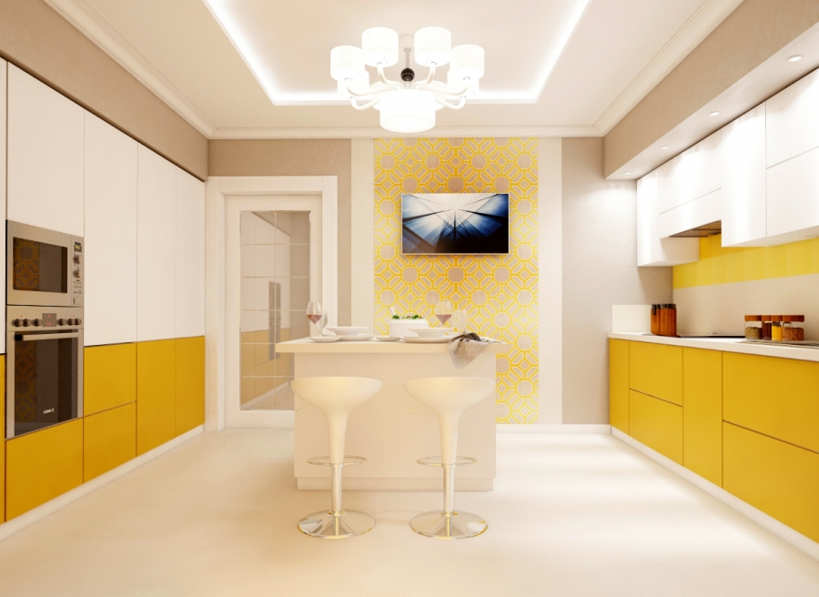White Plus Yellow Kitchen Cabinets